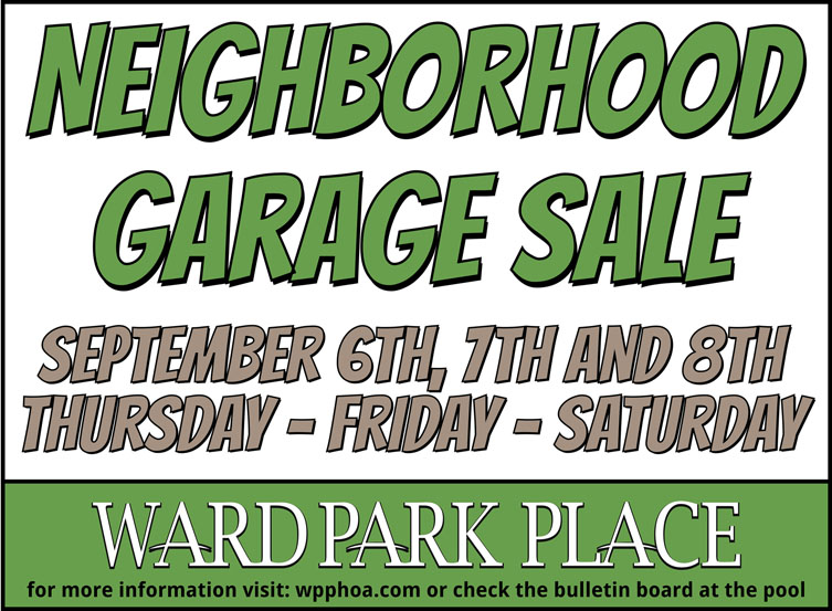 Fall Neighborhood Garage Sale September 6-8!
