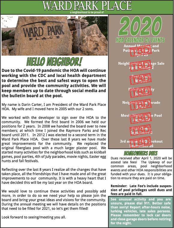 The Ward Park Place HOA 2020 Newsletter. .
